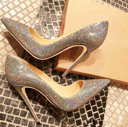 Shoes For Women Free Shipping Australia - Free shipping fashion women shoes Glitter sequined Point toe thin heels High Heels Pumps Stilettos Shoes For Women 120mm