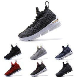 1ead0d669459d New Arrival KITH x LeBron 15 SVSM Dark Green Gold White Mens Basketball  Shoes James 15 Sneakers XV Sports Shoes Size 40-46