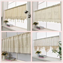 China Kitchen Curtain Handmade Embroidered Flower Cafe Curtain Linen Cotton Lace Window Valance Curtains for Home Decorative cheap purple living room curtains suppliers