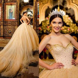 Pear Color Dress Australia - 2019 Luxury Champagne Ball Gown Quinceanera Dresses Long Train Pearls Crystals Major Beading Vintage Prom Sweetheart Princess Sweet 16 Dress