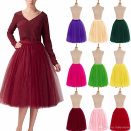$enCountryForm.capitalKeyWord Australia - Full Tutu Tulle Skirts 2018 Short Prom Party Dresses Ball Gowns 5 Layers Underskirt Crinolines Cheap with 18 Colors CPA583