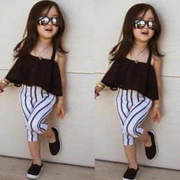 $enCountryForm.capitalKeyWord Australia - 2Pcs Summer Girls Clothes Set Toddler Kids Girl Sleeveless Halter Crop Tops T-shirt+Striped Trousers Kids Casual Clothes Outfits