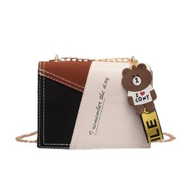 $enCountryForm.capitalKeyWord Australia - banabanma Lady Matching Color Small Square Bag Cartoon Cute Bear Crossbody Bag