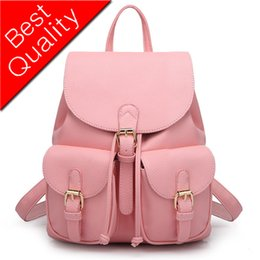 Pink Glitter Alloys Australia - Women Backpack Leather Women Bags School Bags For Girls Feminima Teenager Backpack Candy Color Pink High Quality Bolsas Mochila