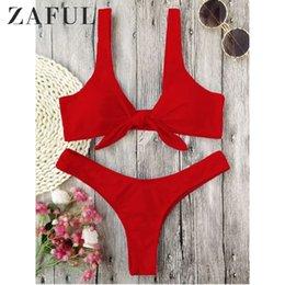 $enCountryForm.capitalKeyWord Australia - ZAFUL Bikini Knotted Padded Thong Bikini Set Women Swimwear Swimsuit Scoop Neck Solid High Cut Bathing Suit Brazilian Biquni