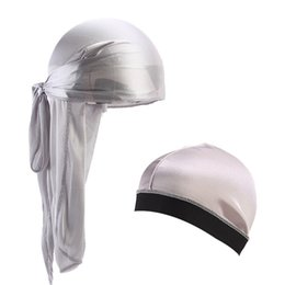 Wig Grey Australia - New Unisex Silky Long Tail Bandana Turban Hat silky Dome Cap Turban wide band stretchy wig cap