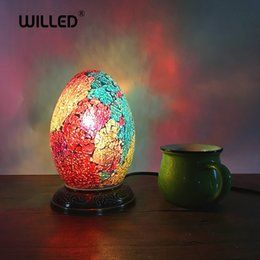 $enCountryForm.capitalKeyWord NZ - Egg Turkish Mosaic Lamps For Indoor home table decor handmade Mosaic Glass lampshade side table lamp retro Kids nightstand lamp