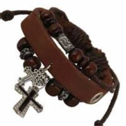 $enCountryForm.capitalKeyWord UK - Religious Cross Charm Designer Jewelry Bracelets Urban Church Gift Leather Wristband Retro Women Men Bracelets 1PCS Special Offer