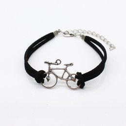 Man Woman Sign NZ - Fashion Bicycle Sign Bracelet & Bangles For Women Men Simple Adjustable Black Leather Silver Bike Bracelet Pulseras Mujer Jewelry Party Gift