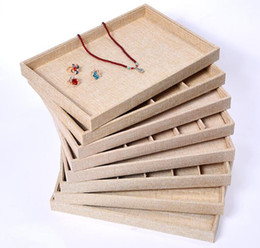 Linen Jewelry Necklace Display Australia - Linen Jewelry Display Case Storage Organizer Tray Box 12 Grid 24 Grid for Necklace Rings Tray