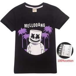 c3432638 DJ Marshmello Black Kids T shirts 100% Cotton 6-14t Kid Boys tee shirt kids  designer clothes boys Kids Clothes SS88