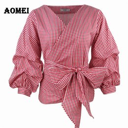 Women White shirt boW tie online shopping - Women Red Gingham Pants White Puff Shell Carved Blouse V Neck Lady Summer Shirts Women s Clothing Blosa s Bow Tie Y19071201