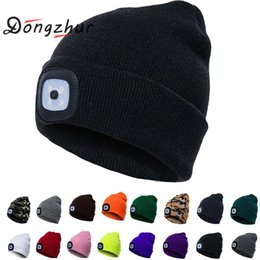 fd6e81432896e LED Light Hat Unisex Fishing Hunting Camping Running Clambing Skiing Beanie  Caps Knitting Woolen Hat Women Men Winter Warm