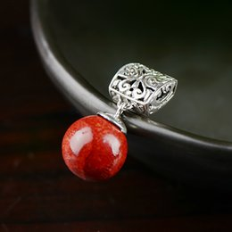 Red Coral Beads Pendants Australia - Genuine Silver 925 Jewelry Natural Red Coral Pendant For Women Round Ball Beads Ethnic Spiritual Meditation Jewelry Pendule