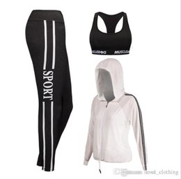 long sports bras 2019 - New trousers, body building suit, sports bra, outdoor Yoga suit, three piece sports suit, women's winter.2set cheap