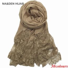 $enCountryForm.capitalKeyWord Australia - 2017 Luxury Edges Lace Scarf plain solid women shawl floral lace scarves Cosy cotton viscose wrap ladies muffler nice