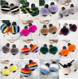 Discount fluffy slippers - 2019 New Design Summer Women Fox Fur Slippers Real Fox hair Slides Female Furry Indoor Flip Flops Casual Beach Sandals F