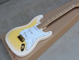 Pearl hardware online shopping - Factory Electric Guitar with Cream Body White Pearl Pickguard Gold Hardware Maple Neck SSS Pickups Can be Customized