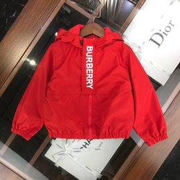 Wholesale sunscreen hoodies resale online – kids coat kids clothes girls red Hooded letter zip jacket Windproof sunscreen jacket children hoodie tops baby girl clothes AB