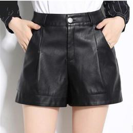 Nouveau 2019 femmes taille haute Pu en cuir Shorts Printemps jambe large  noir Casual Shorts en cuir M   4Xl Femme Sexy en cuir court 7df5197a84c