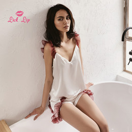 $enCountryForm.capitalKeyWord NZ - Lick Lip Sexy Deep V Neck Pajamas Sets Women Lace Ruffles Patchwork Night Suit Females Satin Top Shorts Set Sleepwear Swc4729-47 Y19071901