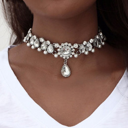 Discount vintage pearl collar necklace - Boho Collar Choker Water Drop Crystal Beads Choker Necklace &pendant Vintage Simulated Pearl Statement Beads Maxi Jewelr