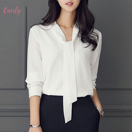 Wholesale womens tie shirt for sale – plus size Womens Blouse Long Sleeved Bow Tie Tops Autumn Winter New Regular Fashion Women Clothing Loose Chiffon Shirt C