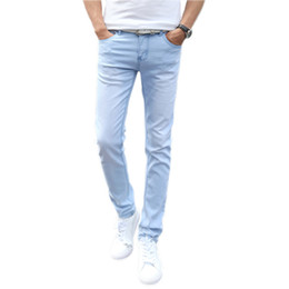 China New Jeans Men Fashion Skinny Denim Pencil Pants Slim Denim Jeans Homme Trousers Male Solid Colors Sky Blue Pantalones Size 27-36 cheap sky blue jeans suppliers