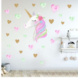 Discount small heart wall stickers - Cartoon Cute Unicorns Star Heart Wall Stickers Nordic Style Kids Room Livingroom Decor DIY Home Wall Decals Sticker