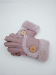 white leather gloves NZ - Fashion-Free Shipping - Winter New Women Warm Wool Gloves 100% Leather Gloves Leisure