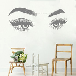 MediuM eyelashes online shopping - Newest Creative Eyes Eyelashes Wall Sticker Art Vinyl Mural Beauty Salon Shop Wall Decor Fashion Big Eye Eyebrow Wallpaper