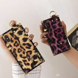 Iphone Case Yellow Purple Australia - luxury Leopard Print yellow purple wrist good quality phone Case for iPhone 6 6s 7 8 8plus XR X back cover shell for iphone x xr 7plus case