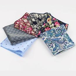 Scarfs Cotton Australia - Hankerchief Scarves Vintage Cotton Hankies Men's Pocket Square Handkerchiefs Rose Flower Paisley C19041301