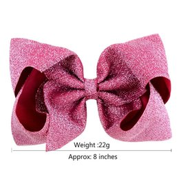 Children pink Cloth online shopping - INS Kids Girls Glitter Big Bowknot Hairpin Inch Shiny Cloth Bow Hairpins Hairclips Sparkle Barrettes Hairbands Children Hair Clips A41004