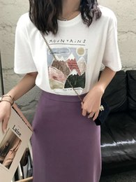 Summer 2020 new women's vintage art painting loose and versatile web celebrity ins ultra fire short sleeve T-shirt blouse
