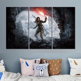 Discount rose painting wall decor - rise of the tomb raider view 3 sets canvas print painting wall pictures for room decor