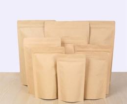 Zip paper bags online shopping - 1000pcs Zipper Brown Kraft aluminizing pouch Stand up kraft paper aluminium foil bag Resealable Zip Lock Grip seal Food Grade DHL