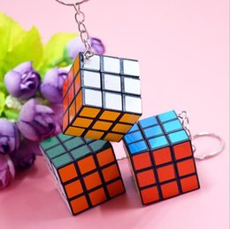 Kids Key online shopping - Puzzle Cube Keychain Factory directly sales Keychain Rubik cube x3x3cm Puzzle Magic Game Toy Key Keychain hot Stock