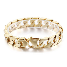 Best seller jewelry online shopping - best prbest seller Fashion Jewelry for women Men Hip Hop Gold Stainless Steel Curb Chain Link Bracelet mm quot