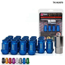 jdm blue 2021 - 20PCS SET D1 Spec JDM Aluminium Universal Racing Car Wheels Rims Lug Nuts M12X1.25   M12X1.5,L : 40mm TK-NU670