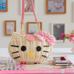 $enCountryForm.capitalKeyWord NZ - 2019 New Fashion KT Cat Straw Beach Bags for Women Summer Knitted Rattan Shoulder Bag Hot Sale Handmade Woven Beach Cross Body Bags Bolsa