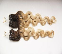 Bleached Burgundy Hair Australia - Body Wave Micro Loop Human Hair Extensions 1g Stand Micro Ring Loop Human Hair Extension 100 Gram Color 1B 613 to Bleach Blonde