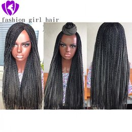 braided lace front wigs Australia - New style africa american braids style Ombre grey Synthetic Lace Front Wig Long braid lace Wigs for Women Braided Box Braids Wig