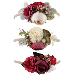 Flowers baby girl photos online shopping - 3 Colors Baby Girl Flexibility Flower Headband European and American baby hairband photo taking headband hair band children camellia wreath
