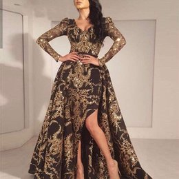 Long sLeeve goLd gLitter dress online shopping - Luxury Black Gold Glitter Mermaid Long Sleeves Evening Saudi Arabia Dubai Moroccan Sexy Formal Prom Party Gowns