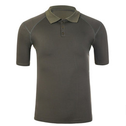 Elastic Army Shirt Australia - Outdoor Sport Breathable Quick Dry T-shirt Summer Climbing Short Sleeve Elastic Lapel Training Clothes Army Fan Tactical T Shirt