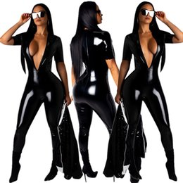 Wholesale night club jumpsuits for women resale online – Bright PU Women Skinny Jumpsuits Rompers for Party New Sexy Deep v Neck Short Sleeves Hottest Night Out Club Jumpsuits Pants Suits