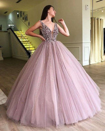 pear drop crystal NZ - 2019 Fairy Lilac V Neck Evening Dresses Shining Crystal Beaded A Line Puffy Tulle Formal Occasion Party Prom Dresses Custom Made