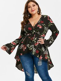 9e3162980d094 Wipalo Women Plus Size Flower Print Dip Hem Wrap Blouse Plunging Neck Long  Flare Sleeves High Low Blusas Shirt Casual Spring Top