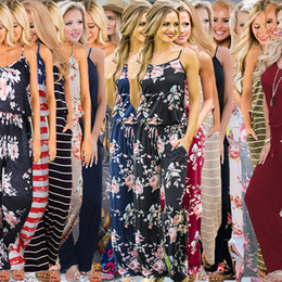 Playsuits romPers online shopping - Women Floral Strap Jumpsuit Styles Summer Sleeveless Rompers Boho Floral Print Jumpsuits Loose Pants Playsuits OOA6396